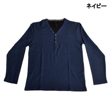 AMORTE MIXワッフル フェイク 5釦 Yネック ヘンリー Tシャツ 7401-100-38