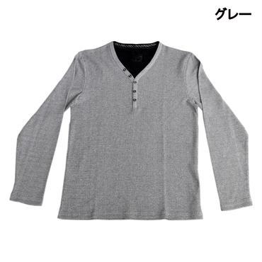 AMORTE MIXワッフル フェイク 5釦 Yネック ヘンリー Tシャツ 7401-100-20