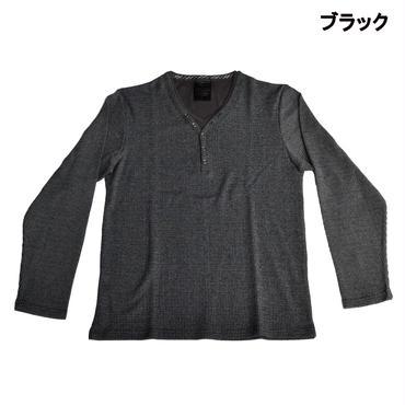 AMORTE MIXワッフル フェイク 5釦 Yネック ヘンリー Tシャツ 7401-100-41