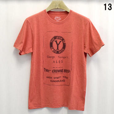 OILCAKE 天竺 ケミカル加工 プリント 半袖Tシャツ(6703-720,13,オレンジ)