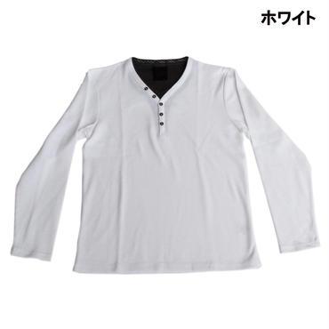 AMORTE MIXワッフル フェイク 5釦 Yネック ヘンリー Tシャツ 7401-100-10