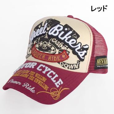 NEVEREND 刺繍&プリント バイカー×カジノギャンブラー メッシュキャップ 8683933-23