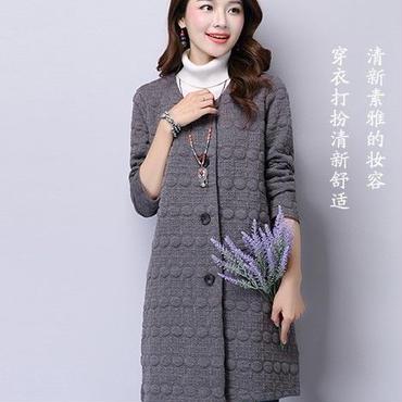 オススメ春コーデ 刺繍編みフィリング スプリングジャケット ノーカラー 灰 グレー