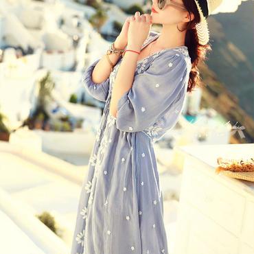 5430e31b6bd14 ワンピース 花柄 刺繍 リゾートワンピ ロング マキシ 藍色 和柄 和風 五分袖