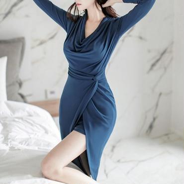 ワンピース ドレス 無地 スモーキーカラー セクシー ドレープドネック スリット 新作 人気 sale セール プチプラ 送料無料