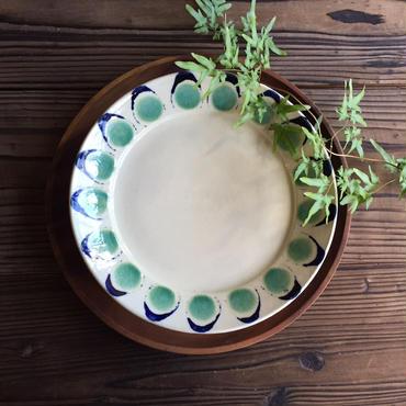 やちむん リム皿(8寸)/花弁(青緑)/宮城正幸