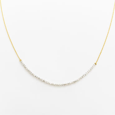 square beads long necklace 08N101-L / gold