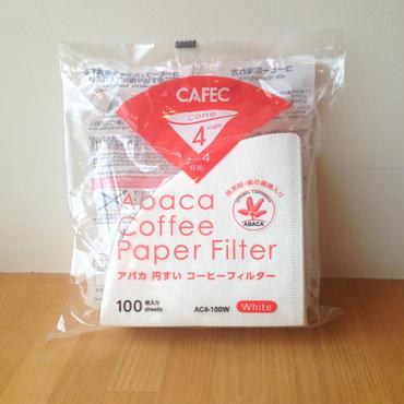 CAFEC アバカ 円すい コーヒーフィルター White 100枚入 2~4杯用