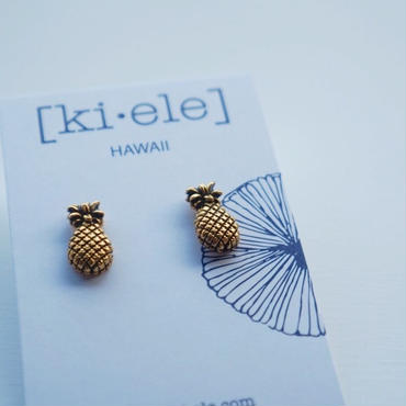 ハワイ【ki•ele/キエレ】Pinya I Stud earrings/パイナップル スタッズ ピアス
