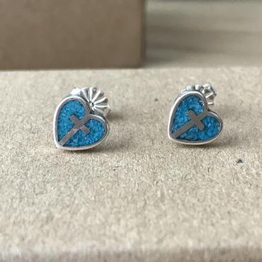 【7/11 20:00~】Turquoise Heart Crossピアス Silver925製