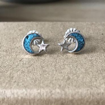 【7/11 20:00~】Turquoise Moon&Star ピアス(L)  Silver925製