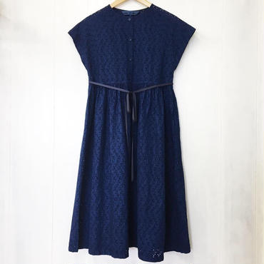 indigo-dyed raglan sleeve gathered op / 03-8305005