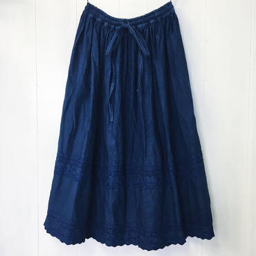 indigo-dyed gathered skirt / 03-8307002