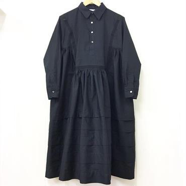 henry-neck gathered dress / 03-8305009
