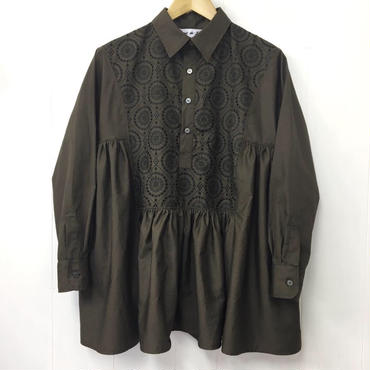 henry-neck gathered blouse / 03-8308002