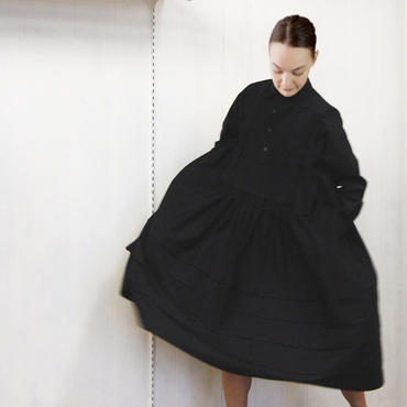 pintuck  gathered dress / 03-8305009