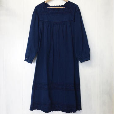 indigo-dyed square neck op / 03-8305006