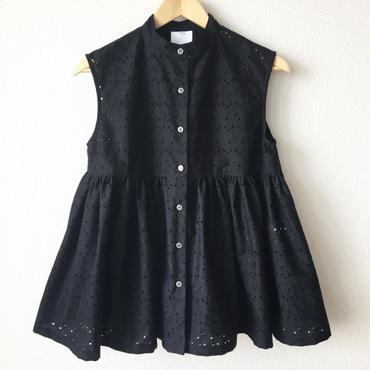 sleeveless gathered peplum blouse / 03-7208005