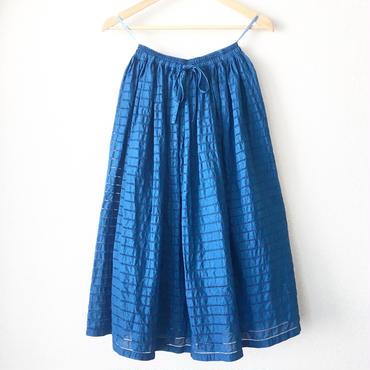 indigo-dyed gathered skirt / 03-7307001