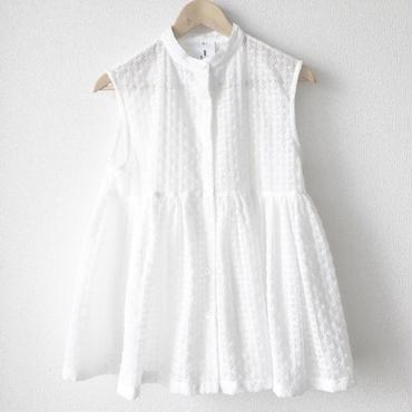sleeveless gathered peplum blouse / 03-7208001