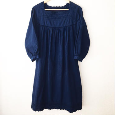 indigo-dyed square neck op / 03-6305008