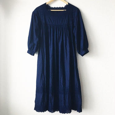 indigo-dyed square neck op / 03-8105006