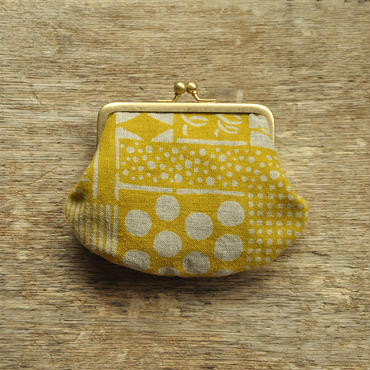 ガマグチ|花布 黄色(単色)