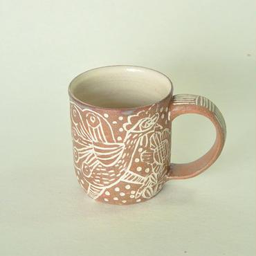 ニワトリ象嵌マグカップ