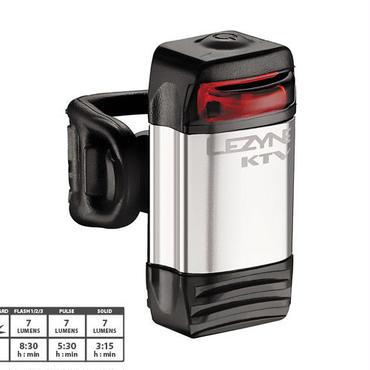 LEZYNE KTV REAR シルバー、ブラック リヤ専用 コンパクトで超軽量縦型アルミニウムボディのLEDセーフティーライト
