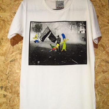 シンプソンズ The Simpsons 反戦TシャツA柄【ARAINA】M白アメリカンコミック反戦運動フォトTシャツアニメTシャツ