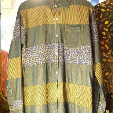 【RICHIEE RICH】デニム×ストライプ柄×ドット柄パッチワークシャツ/デニムシャツダンガリーシャツ