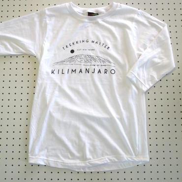 キリマンジャロ山デザインプリント七分袖TシャツMサイズ白 【Cliff】ロンT長袖Tシャツアウトドアウェア登山トレッキングアフリカ大陸