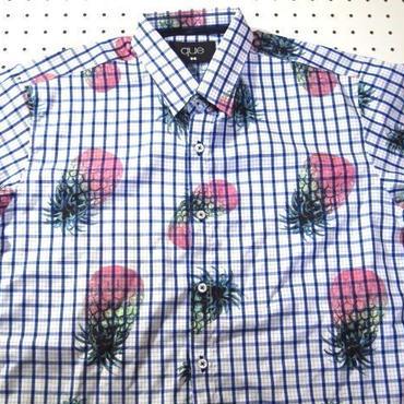 パイナップル×チェック半袖シャツM【que】青xピンク総柄派手柄果物柄南国アロハ