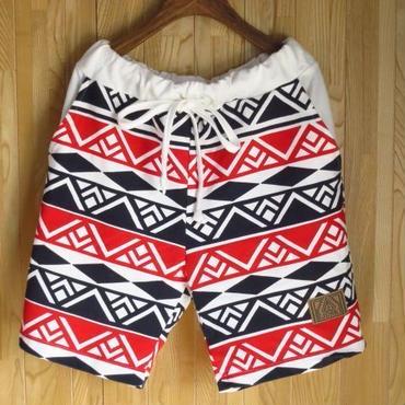 【JUNK】民族模様総柄スウェットハーフパンツMサイズLサイズ紺白赤/ショートパンツスウェットパンツ