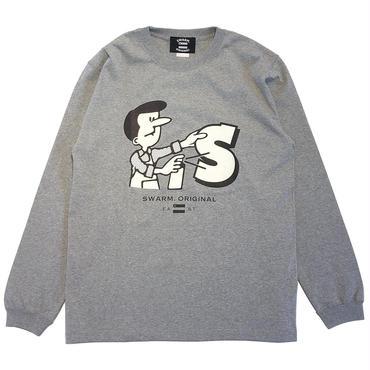 【SWARM. original】 Spray Boy  L/S Tee ミックスグレー