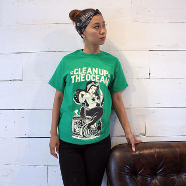 """Clean Up the OCEAN"" Tee / Antique Irish Green"