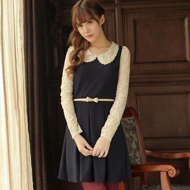 お洋服♡ベルト付・ワンピース♡ブルー