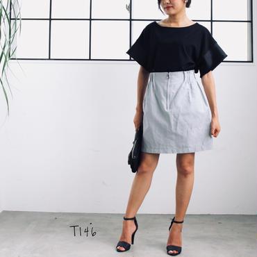 ウエストゴムジッパー台形ミニスカート
