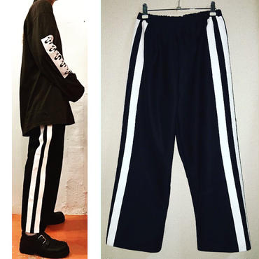 帆布 paint line pants/black