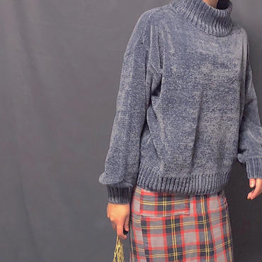 バルーンスリーブ モールニットセーター(ブラック・ネイビー