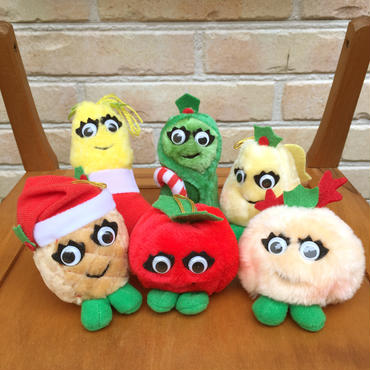 DEL MONTE Christmas Yumkins  Ornaments Plush Doll Set/デルモンテ クリスマスヤムキンズ オーナメントぬいぐるみ 全種セット/171018-7