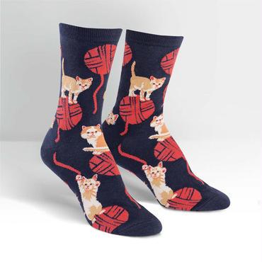 "Sock it to me ""TKitten Knittin"" ソックス 「仔猫と編みもの」"