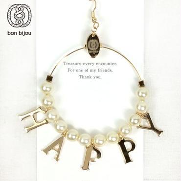 bon bijou レタードリングピアス pearl HAPPY