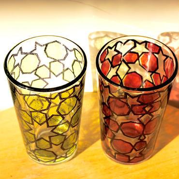 Mint tea glass 耐熱ミントティーグラス2個セット yellow&red