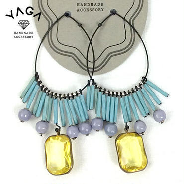 YAGA Blue & Purple Fringe Hoop ピアス