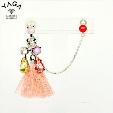 【YAGA】 DewDrop タッセルイヤークリップ チェーンタイプ オレンジ