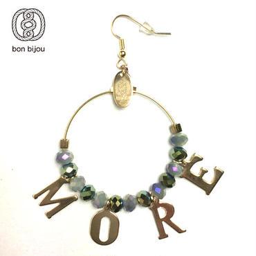 【bon bijou】レタードリングピアス「MORE」aqua×green