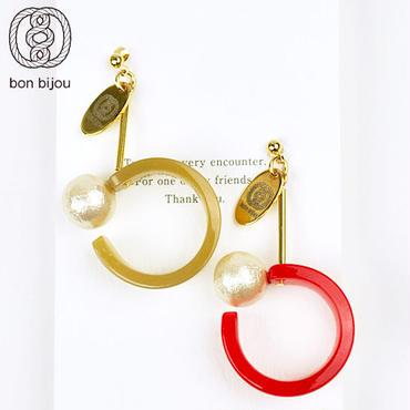 【bon bijou(ボンビジュー)】furico pierce フリコピアス Beige×Red