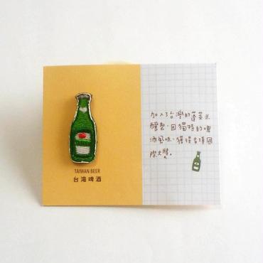 刺繍ミニブローチ「台湾啤酒」
