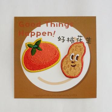 刺繍ブローチ「トマト&ピーナツ」